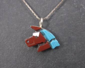 Vintage Zuni Sterling Inlaid Horse Pendant