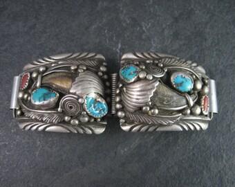 Vintage Navajo Sterling Turquoise Coral Bear Watch Tips Jackie Singer