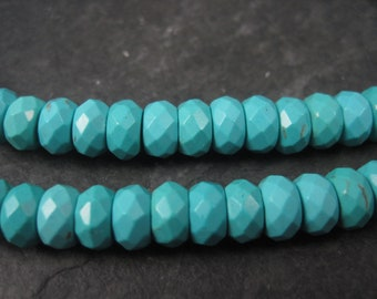 Dyed Blue Turquoise Howlite 8mm Faceted Rondelle Bead Strand