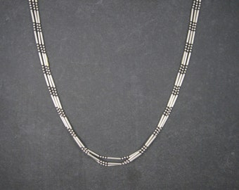 Vintage Italian Sterling 3 Strand Chain Necklace 18 Inches
