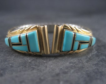 Womens Vintage 14K Turquoise Inlay Watch Tips