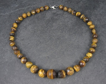 Vintage Faceted Graduated Tiger Eye Bead Necklace 18.5 Inches