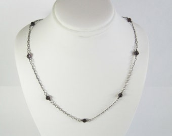 Handmade Vintage Sterling Garnet Necklace