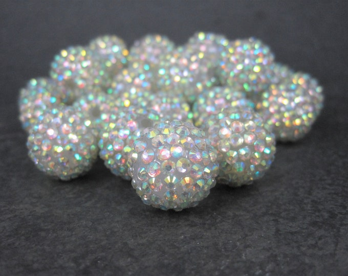 Rhinestone Beads 20mm Destash Lot of 30 Round Acrylic Bubblegum Beads