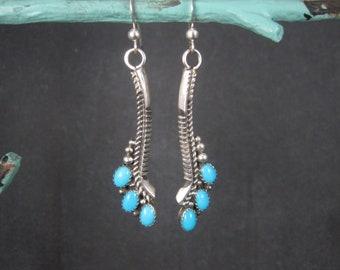 Vintage Southwestern Sterling Turquoise Earrings