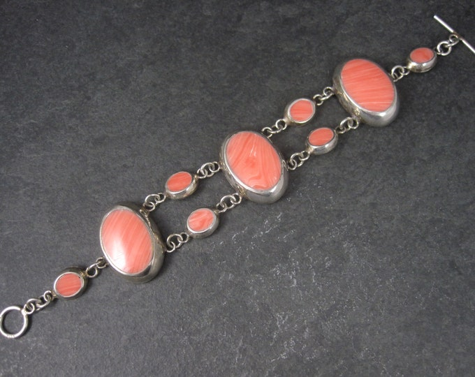 Vintage Mexican Sterling Faux Pink Shell Toggle Bracelet 8 Inches