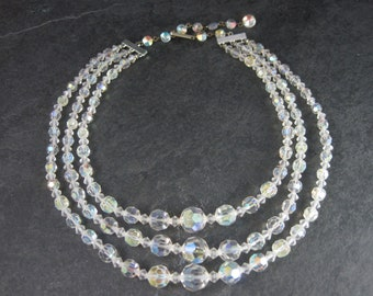 Vintage Aurora Borealis Crystal Necklace 3 Strand 14-17 Inches