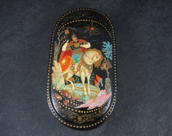 Vintage Russian Lacquer Fairy Tale Trinket Box