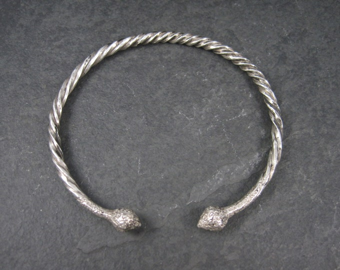 Vintage Tribal Sterling Bangle Cuff Bracelet 8 Inches