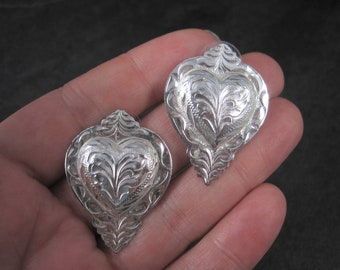 Western Heart Earrings Silver Plated Circle Y of Yokum