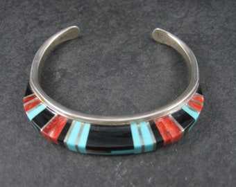 Vintage Sterling Zuni Raised Inlay Turquoise Coral Onyx Cuff Bracelet