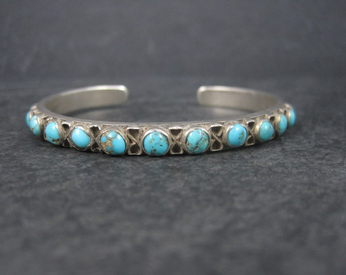 Vintage Southwestern Sterling Turquoise Cuff Bracelet 6 Inches