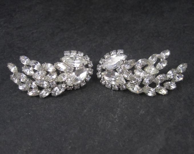 Large Vintage Juliana Clear Rhinestone Clip On Earrings