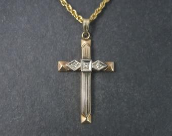 Antique 10K Diamond Cross Pendant