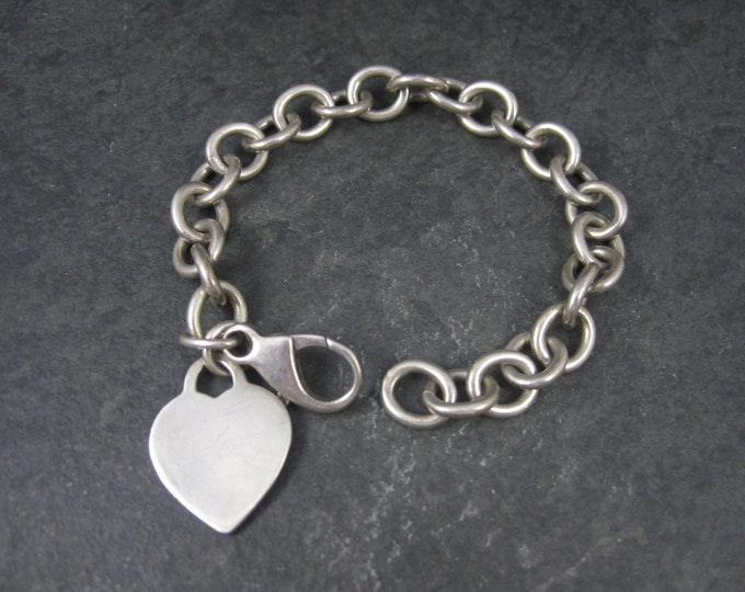 Heavy Vintage Sterling Heart Charm Bracelet 8 Inches