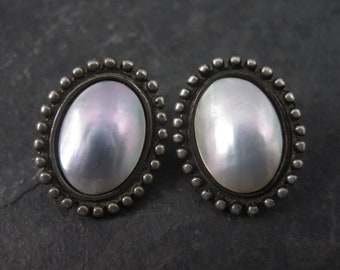 Vintage Sterling Mabe Pearl Earrings