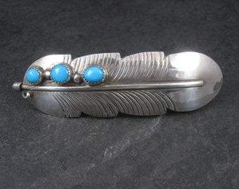 Large Vintage Sterling Turquoise Feather Hair Clip Barrette