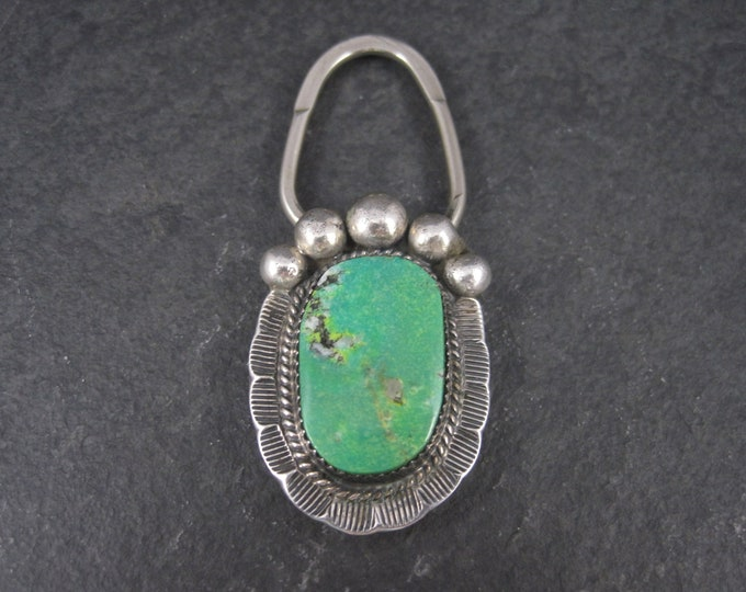 Vintage Sterling Southwestern Green Turquoise Bear Paw Keychain