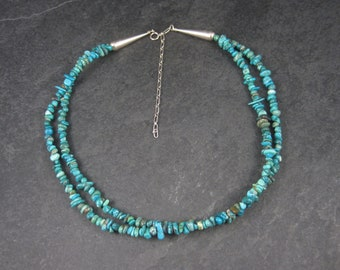 Vintage Southwestern Sterling Turquoise 2 Strand Necklace 18-22 Inches
