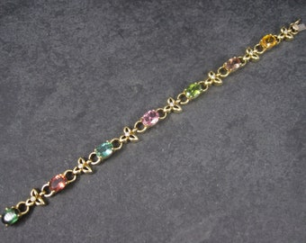 Vintage 18K 12 Carat Tourmaline and Diamond Bracelet 6.5 Inches