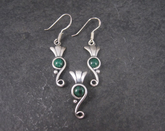 Dainty Southwestern Malachite Earrings Pendant Jewelry Set Carolyn Pollack