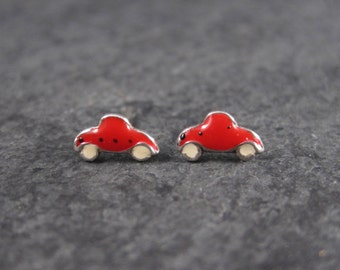 Tiny Vintage Sterling Enamel Car Stud Earrings