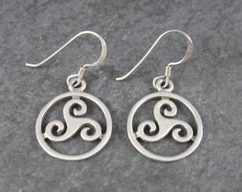 Vintage Sterling Celtic Triskele Earrings
