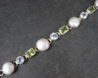 Vintage Sterling Pearl Peridot Topaz Toggle Bracelet 7 to 7.5 Inches