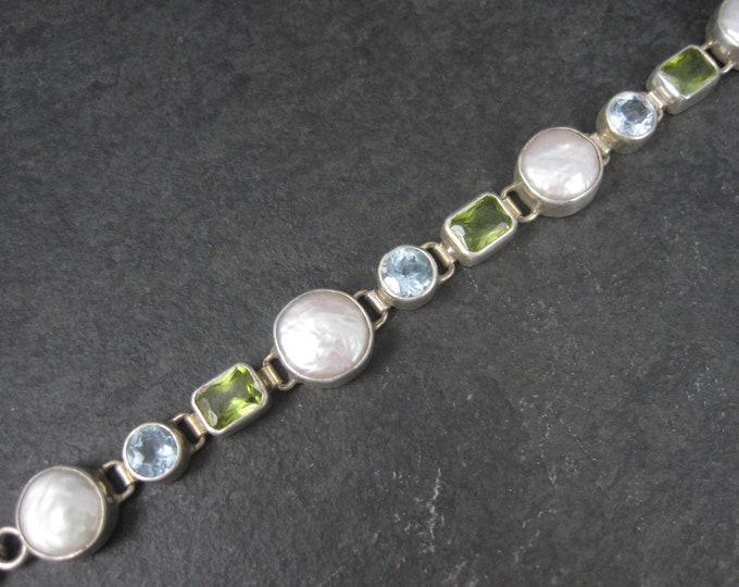 Featured listing image: Vintage Sterling Pearl Peridot Topaz Toggle Bracelet 7 to 7.5 Inches