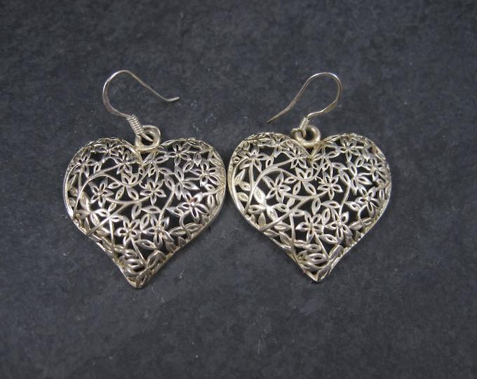 Vintage Sterling Floral Filigree Heart Earrings