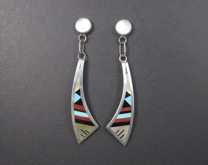 Vintage Zuni Turquoise Coral Inlay Dangle Earrings