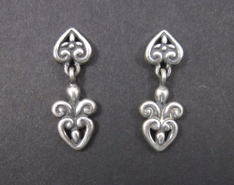 Vintage Victorian Style Sterling Heart Earrings