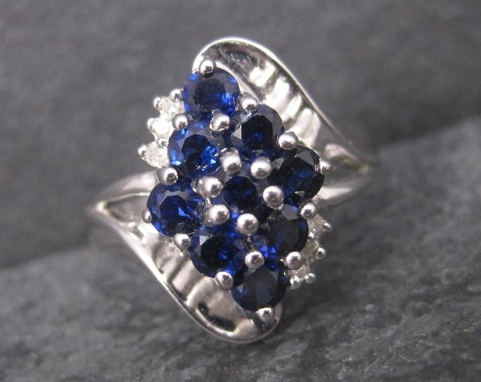 Vintage 10K White Gold Sapphire Ring Size 7