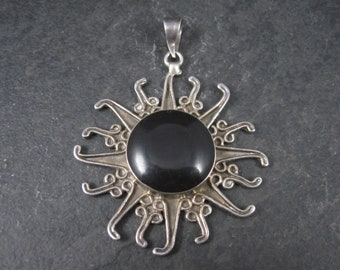 Large Vintage Mexican Sterling Onyx Sun Pendant