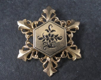 Vintage Gold Filled Snowflake Brooch