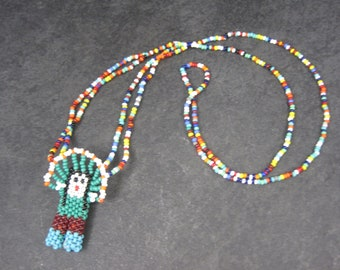 Vintage Beaded Native American Necklace 25 Inches