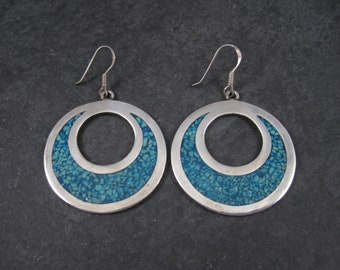 Vintage Mexican Sterling Turquoise Chip Circle Dangle Earrings