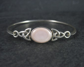 Vintage Celtic Triquetra Mother of Pearl Sterling Bangle Bracelet 7 Inches