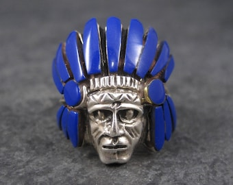 Vintage Sterling Lapis Inlay Indian Head Ring Size 7