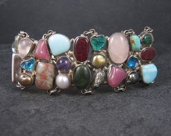 Vintage Mexican Sterling Multi Gemstone Bracelet 8.5 Inches
