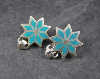 Vintage Sterling Bell Trading Starburst Clip On Earrings