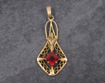 Antique 10K Red Glass Ruby Lavalier Pendant