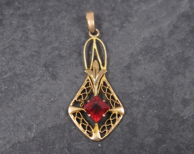 Antique 10K Red Glass Ruby Lavalier Pendant