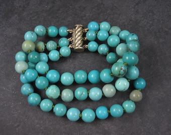 Vintage Sterling Turquoise 3 Strand Bracelet
