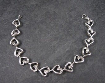 Diamond Heart Bracelet 925 Sterling Silver 7.5 Inches Vintage