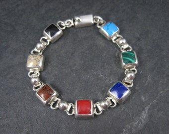 Vintage Mexican Sterling Gemstone Bracelet 7.5 Inches