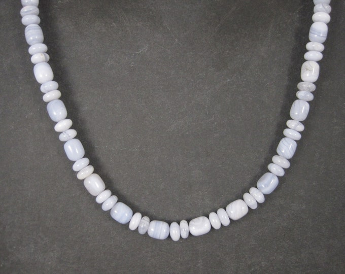 Vintage Blue Banded Agate Bead Necklace Desert Rose Trading 18 Inches