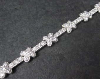 Vintage Sterling Cubic Zirconia Hugs X Bracelet 7 Inches