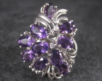 Vintage Sterling Amethyst Bouquet Ring Size 8