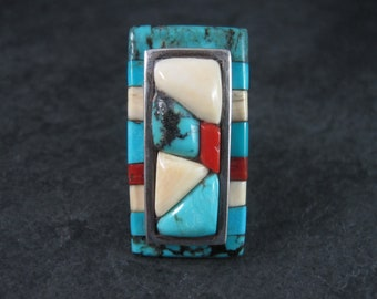 Massive Vintage Navajo Cobblestone Turquoise Coral Inlay Ring Size 6.5